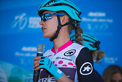 Tayler Wiles (USA) of Trek-Drops Cycling Team of Trek-Drops Cycling Team chats on the podium before Stage 3 of the Amgen Tour of California - a 70 km road race, starting and finishing in Sacramento on May 19, 2018, in California, United States. (Photo by Balint Hamvas/Velofocus.com)