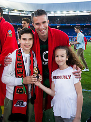 shaquel van Persie, Robin van Persie of Feyenoord, Dina Layla van Persie during the Dutch Toto KNVB Cup Final match between AZ Alkmaar and Feyenoord on April 22, 2018 at the Kuip stadium in Rotterdam, The Netherlands.