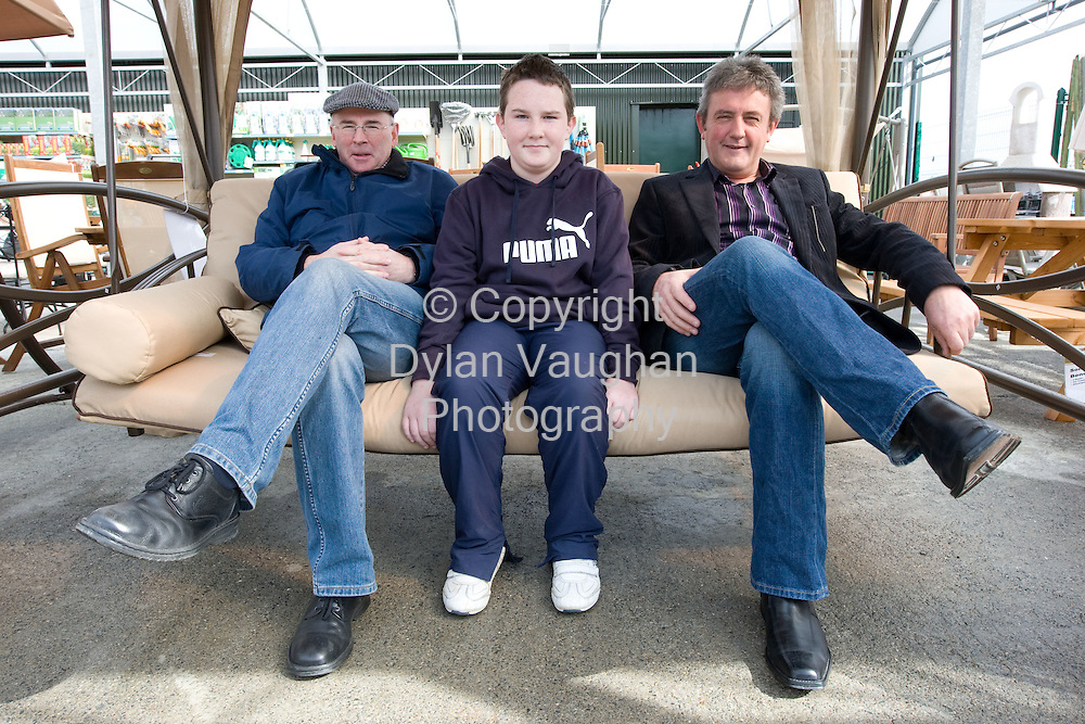 29/3/2008.free picture no charge for use.Pictured at the customer weekend at the Glanbia CountryLife outlet in Ballyhale was John Meeney from Kingsland, Michael Nagle aged 12 from Clare and Gerry O' Connor from Dunamaggin..Picture Dylan Vaughan.