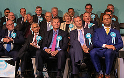© Licensed to London News Pictures. 21/05/2019. London, UK. Brexit Party candidates listen as leader Nigel Farage holds a European Election rally at Olympia in London. Voters are due to go to the polls in two days. Photo credit: Peter Macdiarmid/LNP