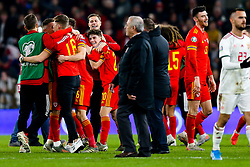 Daniel James of Wales celebrates after Wales win 2-0 to secure their qualification for Euro 2020 - Rogan/JMP - 19/11/2019 - FOOTBALL - Cardiff City Stadium - Cardiff, Wales - Wales v Hungary - UEFA Euro 2020 Qualifiers.