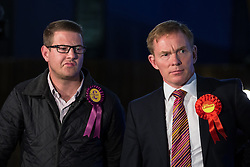 © Licensed to London News Pictures . 05/06/2014 . Newark , Nottinghamshire , UK . Paul Oakden for UKIP and Chris Bryant MP for Labour . The count for the Newark by-election at Kelham Hall , Newark , this evening (Thursday 5th June 2014) . Photo credit : Joel Goodman/LNP