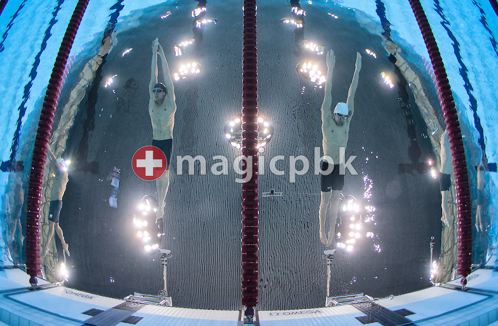(L-R) Pal Joensen of Denmark and Yang Sun of China compete in the men's 1500m Freestyle Heats during the Swimming competition held at the Aquatics Center during the London 2012 Olympic Games in London, Great Britain, Friday, Aug. 3, 2012. (Photo by Patrick B. Kraemer / MAGICPBK)
