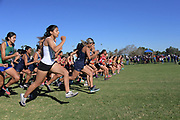 The start of the women's race during the Southern California Community College cross country finals in Cerritos, Calif., Friday, Nov. 2, 2018. (Kirby Lee via AP)