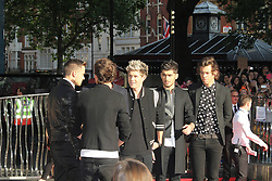 © Licensed to London News Pictures. 20/08/2013, UK. Harry Styles; Niall Horan; Louis Tomlinson; Zayn Malik; Liam Payne; One Direction: This Is Us - World film premiere, Leicester Square, London UK, 20 August 2013<br />  Photo credit : Richard Goldschmidt/Piqtured/LNP