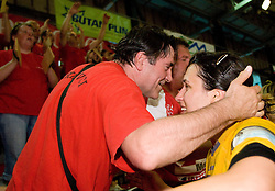 Andrea Lekic and fans Krimovci celebrate at the Final handball game of the Slovenian Women handball Championship between RK Krim Mercator and RK Olimpija when Krim Mercator won the Championship and became Slovenian National Champion, on May 23, 2009, Kodeljevo, Ljubljana, Slovenia.  (Photo by Klemen Kek / Sportida)