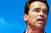 Costa Mesa, CA, USA, Oct. 3rd 2003: On the first day of the Arnold Schwarzenegger campaign bus tour throughout California, the gubernatorial candidate had to face charges of alleged sexual harassment of six women as well as an old article quoting him admiring Adolf Hitler as a leader.<br /> <br />  *** Local Caption *** , posted on Corbis web ,