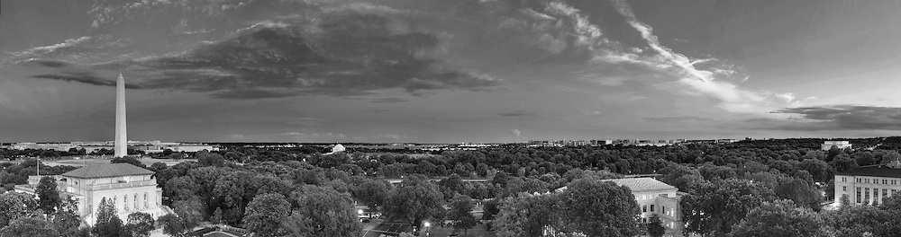 Panoramic View of Washington, DC.  Includes The Capitol, Washington Monument, Smithsonian Mall, Organization of American States, Jefferson Memorial, Reagan National Airport, and Lincoln Memorial. Print Sizes (inches): 15x4; 24x6.5; 36x10; 48x12.5; 60x16; 72x19