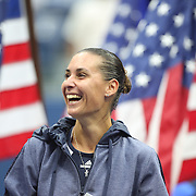 Flavia Pennetta, Italy, at the trophy presentation after winning the Women's Singles Final match during the US Open Tennis Tournament, Flushing, New York, USA. 12th September 2015. Photo Tim Clayton