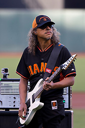 SAN FRANCISCO, CA - MAY 16:  Recording artist Kirk Hammett of the rock band Metallica performs the national anthem before the game between the San Francisco Giants and the Miami Marlins at AT&T Park on May 16, 2014 in San Francisco, California.  The Miami Marlins defeated the San Francisco Giants 7-5.  (Photo by Jason O. Watson/Getty Images) *** Local Caption *** Kirk Hammett