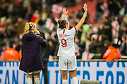 Beth Mead (England) & Jody Taylor (England) thanking the supporters following the International Friendly match between England Women and Germany Women at Wembley Stadium, London, England on 9 November 2019.