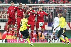 19.11.2011, Allianz Arena, Muenchen, GER, 1.FBL, FC Bayern Muenchen vs Borussia Dortmund, im Bild Thomas Mueller (Bayern #25) Gerome Boateng (Bayern #17) Luiz Gustavo (Bayern #30) Rafinha (Bayern #13) beim freistoss von Mario Goetze (Gštze) (BVB #11) // during the match FC Bayern Muenchen vs  Borussia Dortmund, on 2011/11/19, Allianz Arena, Munich, Germany. EXPA Pictures © 2011, PhotoCredit: EXPA/ nph/ Straubmeier..***** ATTENTION - OUT OF GER, CRO *****