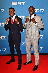 Lutalo Muhammad (left) and Mahama Cho during the red carpet arrivals for BBC Sports Personality of the Year 2017 at the Liverpool Echo Arena. PRESS ASSOCIATION Photo. Picture date: Sunday December 17, 2017. See PA story SPORT Personality. Photo credit should read: Anthony Devlin/PA Wire
