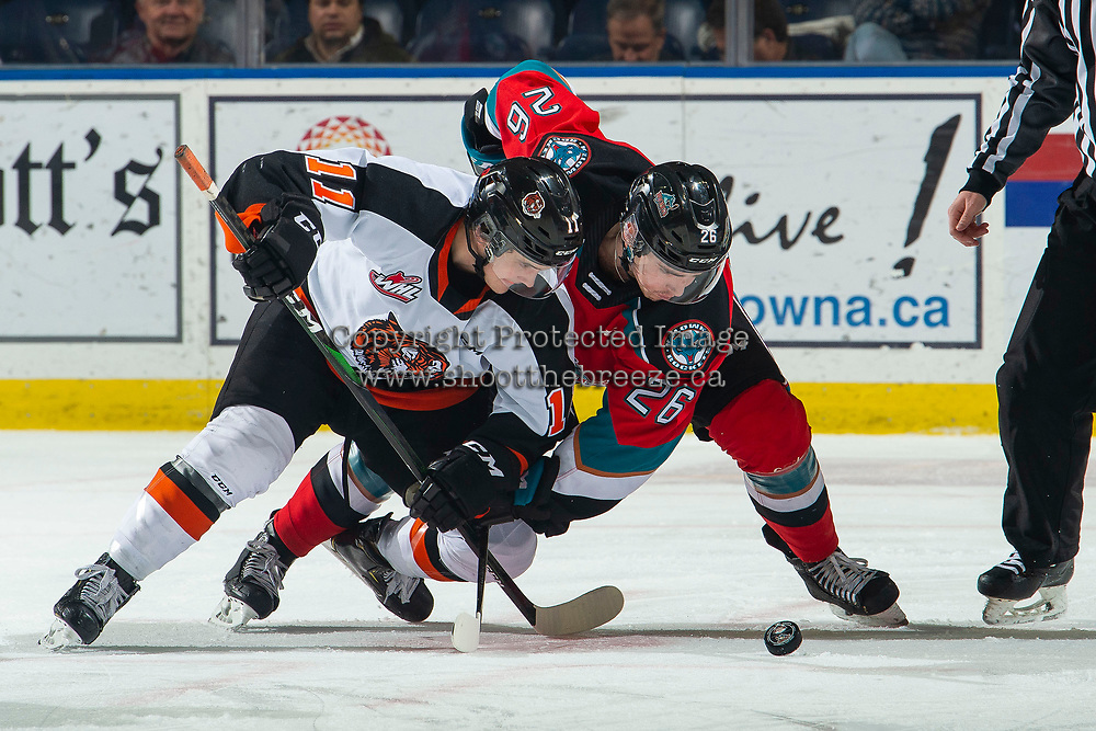 KELOWNA, BC - NOVEMBER 8: Baxter Anderson #11 of the Medicine Hat Tigers and Liam Kindree #26 of the Kelowna Rockets struggle for control of the puck after the face-off at Prospera Place on November 8, 2019 in Kelowna, Canada. (Photo by Marissa Baecker/Shoot the Breeze)