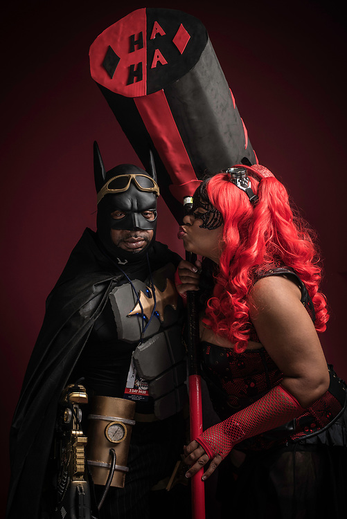 CRYSTAL CITY,VA - July 1, 2017: Quinton Nottingham, of Portsmouth, VA, as Steampunk Batman, and Susan Hamilton, of Yorktown, VA, as Steampunk Harleyquinn.<br /> BlerDCon is the first nerd convention organized for people of color. (Andr&eacute; Chung for The Undefeated)