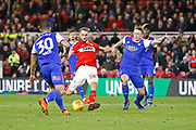 Shot by Middlesbrough midfielder Lewis Wing (26)  during the EFL Sky Bet Championship match between Middlesbrough and Ipswich Town at the Riverside Stadium, Middlesbrough, England on 29 December 2018.