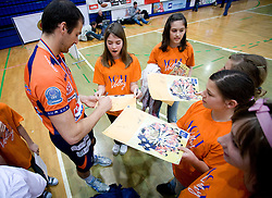 Nicholas Cundy with fans at last final volleyball match of 1.DOL Radenska Classic between OK ACH Volley and Salonit Anhovo, on April 21, 2009, in Arena SGS Radovljica, Slovenia. ACH Volley won the match 3:0 and became Slovenian Champion. (Photo by Vid Ponikvar / Sportida)