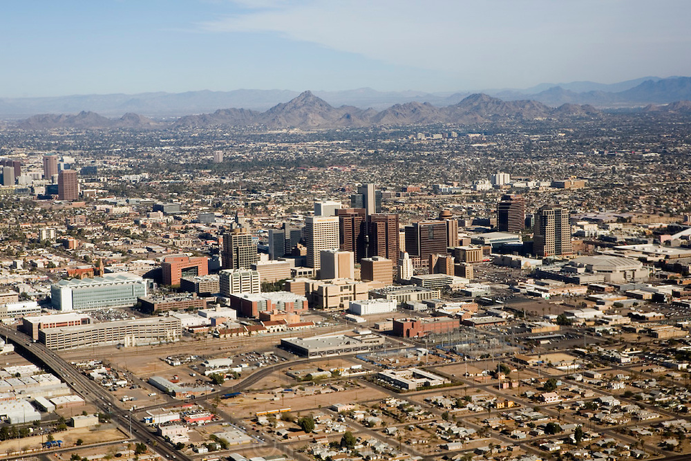 Aerial of downtown Phoenix, Arizona.