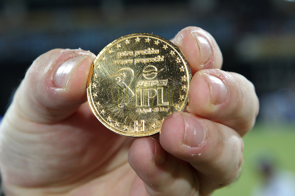 The match coin during match 54 of the Pepsi Indian Premier League between The Sunrisers Hyderabad and Chennai Superkings held at the Rajiv Gandhi International  Stadium, Hyderabad  on the 8th May 2013..Photo by Ron Gaunt-IPL-SPORTZPICS ..Use of this image is subject to the terms and conditions as outlined by the BCCI. These terms can be found by following this link:..http://www.sportzpics.co.za/image/I0000SoRagM2cIEc