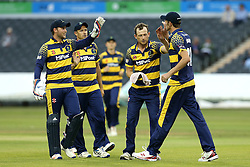 Glamorgan celebrate a wicket taken by Graham Wagg of Glamorgan - Mandatory by-line: Robbie Stephenson/JMP - 10/06/2016 - CRICKET - Brightside Ground - Bristol, United Kingdom - Gloucestershire v Glamorgan - NatWest T20 Blast