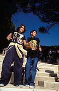 Two teenagers wearing baggy trousers, Istanbul, Turkey, 1990s.