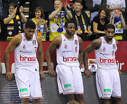 12.04.2015, Brose Arena, Bamberg, GER, Beko Basketball BL, Brose Baskets Bamberg vs EWE Baskets Oldenburg, Top Four 2015, Finale, im Bild Links Ryan Thompson ( brose baskets Bamberg ) Darius Miller ( brose baskets Bamberg ) rechts Brad Wanamaker ( brose baskets Bamberg ) nach der Niederlage // during the Beko Basketball Bundes league TOP FOUR 2015 final match between Brose Baskets Bamberg and EWE Baskets Oldenburg at the Brose Arena in Bamberg, Germany on 2015/04/12. EXPA Pictures &copy; 2015, PhotoCredit: EXPA/ Eibner-Pressefoto/ Langer<br /> <br /> *****ATTENTION - OUT of GER*****