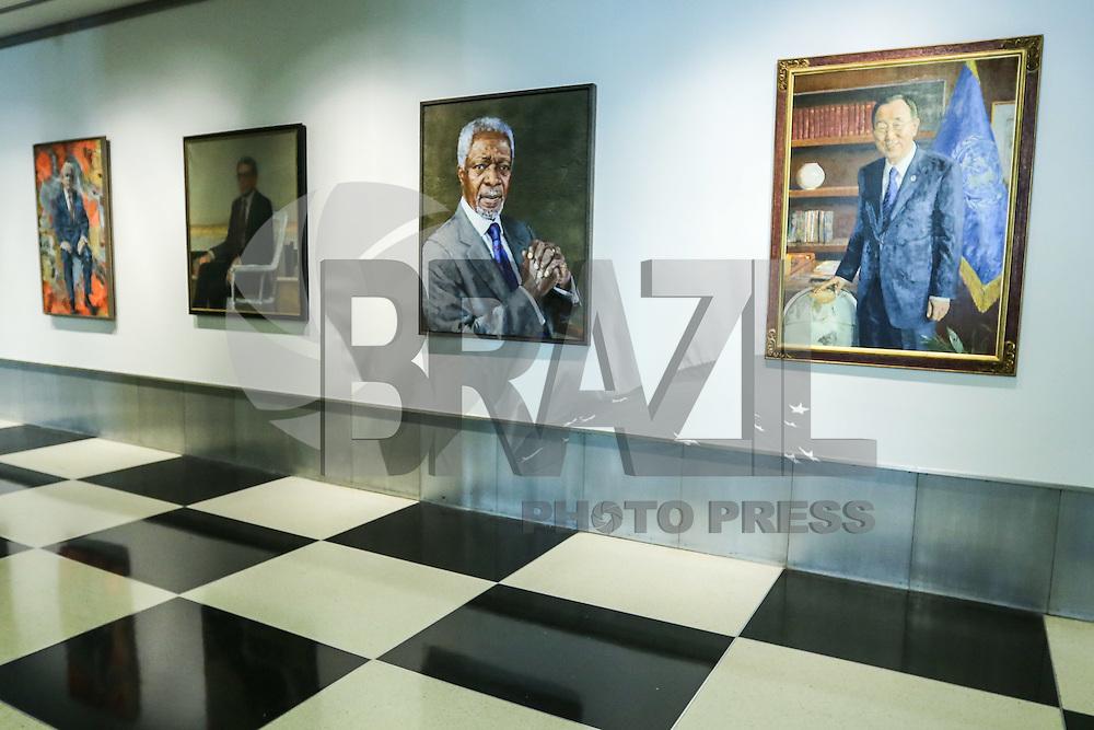 NEW YORK, NY, 16.12.2016 - ONU-RETRATO - Retrato do Secretário Geral da ONU Ban Ki Moon inaugurado esta semana é visto na sede da Organizações das Nações Unidas em New York nos Estados Unidos nesta sexta-feira, 16. Ban Ki Moon está nos seus últimos dias de mandato após 10 anos, será substituido pelo português António Guterres. A retrato é uma obra do artista sul-coreano Lee Won Hee. (Foto: William Volcov/Brazil Photo Press)
