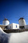 Traditional windmills (Kato Milli) in Mykonos town, Greece