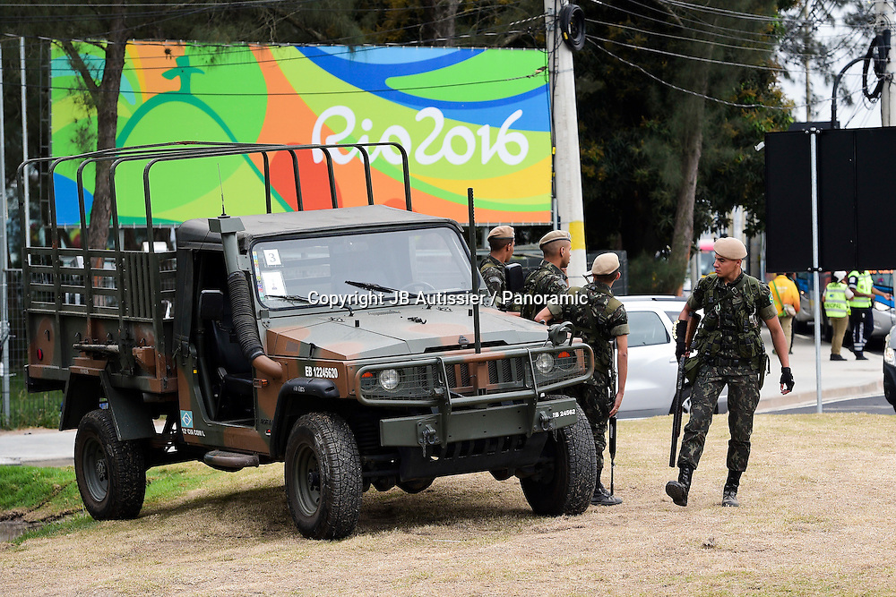 Military police on duty around the Olympic Village in Rio.<br /> Photo: panoramic / www.photosport.nz
