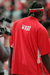 08 November 2015: As a tribute to Coach Torrey Ward who was killed in a plane crash at the end of the last season along with 6 other Redbird supporters, the players all sport WARD on the back of their warm ups. Illinois State Redbirds host the Southern Indiana Screaming Eagles and beat them 88-81 in an exhibition game at Redbird Arena in Normal Illinois (Photo by Alan Look)