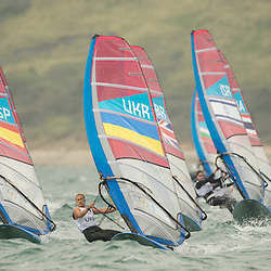2012 Olympic Games London / Weymouth<br /> RSX women racing day 1 <br /> Fleet on the way up to the weather mark