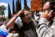 About 6,000 people marched in the La Gran Marcha on May 1, 2010, to Armory Park in Tucson, Arizona, USA. The focus of the march was the protest of the controversial bill SB1070 that takes aim at illegal immigration.  Congressman Raul Grijalva, (left), called for a boycott of Arizona.