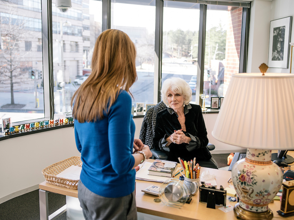 Diane Rehm, of the Diane Rehm Show on WAMU in Washington, D.C. talks with a member of her staff after her show on Feb. 5, 2015.