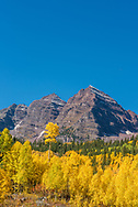 Fall foliage at the Maroon Bells in Aspen, Colorado.