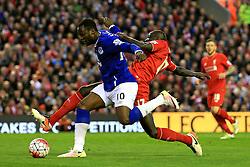 Everton's Romelu Lukaku is tackled by Mamadou Sakho of Liverpool - Mandatory by-line: Matt McNulty/JMP - 20/04/2016 - FOOTBALL - Anfield - Liverpool, England - Liverpool v Everton - Barclays Premier League