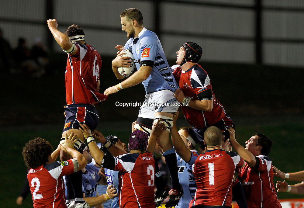 Northland player Bryce Williams claims line out ball ahead of the Tasman pack in the ITM Cup Northland v Tasman, 16 July 2011 played at Toll Stadium Whangarei, New Zealand 16 July 2011. Photo: Kenny Rodger/ photosport.co.nz