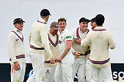 Wicket - Tom Abell of Somerset celebrates taking the wicket of Lewis McManus of Hampshire during the opening day of the Specsavers County Champ Div 1 match between Somerset County Cricket Club and Hampshire County Cricket Club at the Cooper Associates County Ground, Taunton, United Kingdom on 11 May 2018. Picture by Graham Hunt.