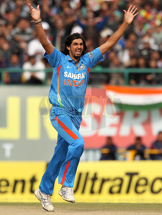Ishant Sharma of India celebrates the wicket of Alastair Cook of England but the decision is not out during the 5th Airtel ODI between India and England held at the HPCA Stadium in Dharamsala, Himachal Pradesh, India on the 27th January 2013..Photo by Ron Gaunt/BCCI/SPORTZPICS ..Use of this image is subject to the terms and conditions as outlined by the BCCI. These terms can be found by following this link:..http://www.sportzpics.co.za/image/I0000SoRagM2cIEc
