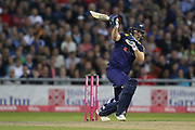 Yorkshires David Willey shows his bat at the ball during the Vitality T20 Blast North Group match between Lancashire County Cricket Club and Yorkshire County Cricket Club at the Emirates, Old Trafford, Manchester, United Kingdom on 20 July 2018. Picture by George Franks.