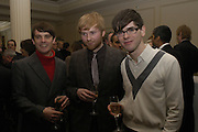 Franz Ferdinand:   Nicolas McCarthy;  Robert Hardy; Paul Thomson. South Bank Show Awards, The Savoy Hotel. London. 27 January 2005. ONE TIME USE ONLY - DO NOT ARCHIVE  © Copyright Photograph by Dafydd Jones 66 Stockwell Park Rd. London SW9 0DA Tel 020 7733 0108 www.dafjones.com