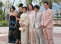 Makiko Watanabe, Miyuki Matsuda, Jun Yoshinaga, Naomi Kawase, Nijiro Murakami and Jun Murakami  at the photo call for the film Still The Water (Futatsume No Mado), at the 67th Cannes Film Festival, Tuesday 20th May 2014, Cannes, France.