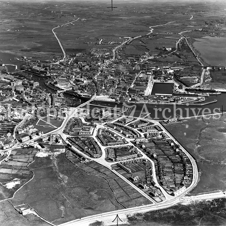 A209(a) Galway.   03/08/51. (Part of the Independent Newspapers Ireland/NLI collection.)<br /> <br /> <br /> These aerial views of Ireland from the Morgan Collection were taken during the mid-1950's, comprising medium and low altitude black-and-white birds-eye views of places and events, many of which were commissioned by clients. From 1951 to 1958 a different aerial picture was published each Friday in the Irish Independent in a series called, 'Views from the Air'.