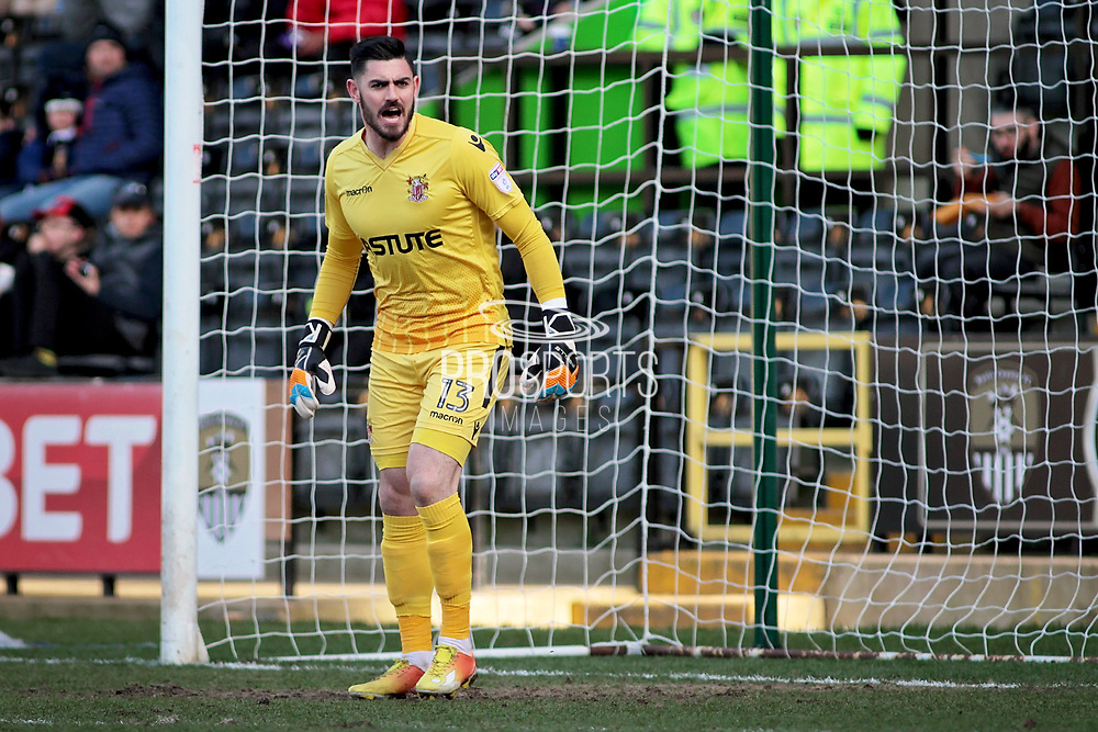 Stevenage goalkeeper Tom King (13) shouts out orders during the EFL Sky Bet League 2 match between Notts County and Stevenage at Meadow Lane, Nottingham, England on 24 February 2018. Picture by Nigel Cole.