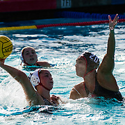 11 February 2018: The San Diego State  women's water polo team competes in day two of the Triton Invitation on the campus of UCSD. San Diego State Aztecs center Paola Vizcarra (20) defends CSUN Matadors Lindsey Garcia (11) in the third quarter. The Aztecs took on the #23 CSUN Matadors Sunday morning and came away with a 7-5 win.<br /> More game action at www.sdsuaztecphotos.com