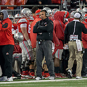 21 November 2015: Ohio State Buckeyes head coach Urban Meyer expresses his displeasures with his team during the game between the Ohio State Buckeyes and the Michigan State Spartans at the Ohio Stadium in Columbus, Ohio. (Photo by Khris Hale/Icon Sportswire)