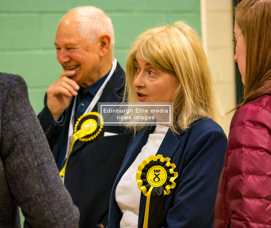 Haddington & Lammermuir by-election count. Haddington, East Lothian, Scotland, United Kingdom, 10 May 2019. Pictured:   Lorraine Glass, Scottish National Party (SNP). The election takes place of one councillor in Ward 5 of East Lothian Council due to the resignation of Councillor Brian Small. The successful candidate represents this ward along with the three existing councillors. The by-election uses the Single Transferable Vote (STV) system in which voters can rank candidates in order of preference and can choose to vote for as many or as few candidates as they like. The election fields 5 candidates from Scottish National Party (SNP), Scottish Labour Party, Scottish Conservatives and Unionist Party, Scottish Liberal Democrats and UK Independence Party (UKIP).<br /> <br /> Sally Anderson   EdinburghElitemedia.co.uk