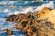 Rocky coast and surf, Montana de Oro State Park, California USA
