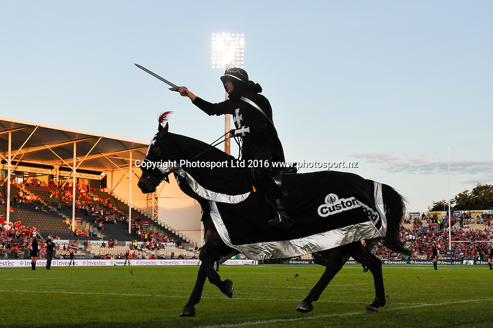 The black knigth during the Super Rugby Match, Crusaders V Kings, AMI Stadium, Christchurch, New Zealand. 19th March 2016. Copyright Photo: John Davidson / www.photosport.nz