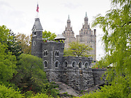 Belvedere Castle in Central Park with the San Remo apartment towers in the background.