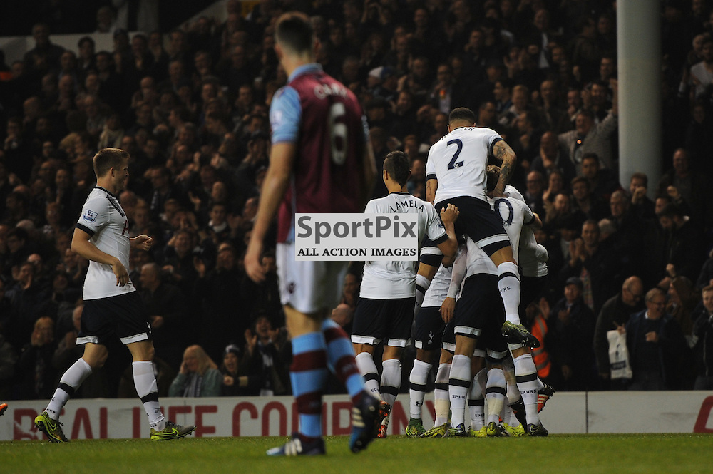 The Tottenham players celebrate Mousa Dembeles goal during the Tottenham v Aston Villa match in the Barclays Premier League on the 2nd November 2015